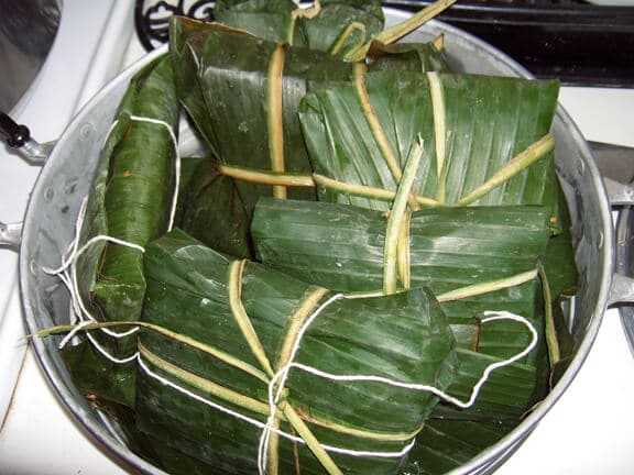 Food cooked in banana leaves