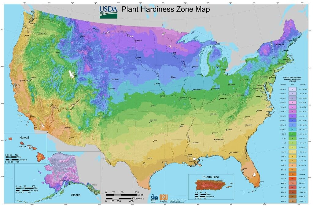 USDA Hardiness Zone Map 2012