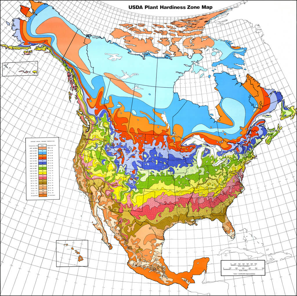 A Plant Hardiness Zone Map of North America