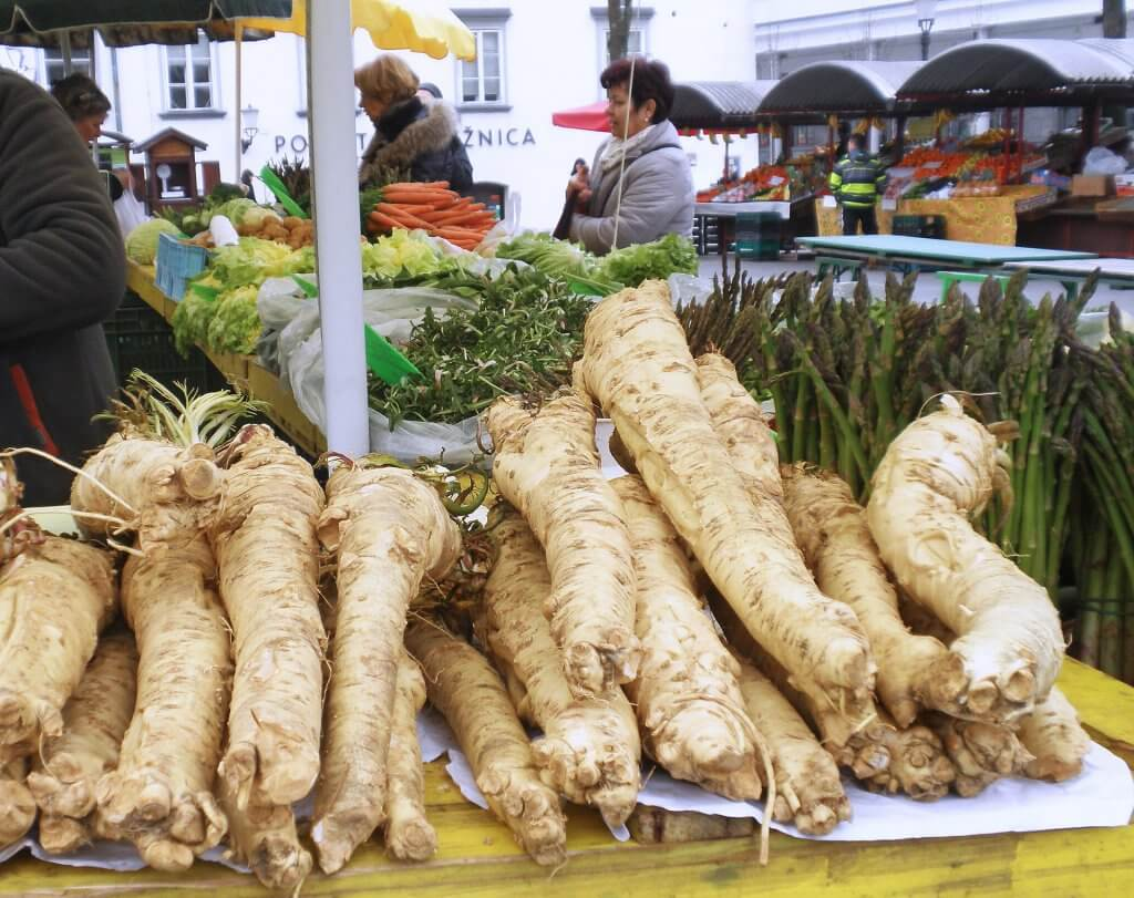 Horseradish Root for sale at a market
