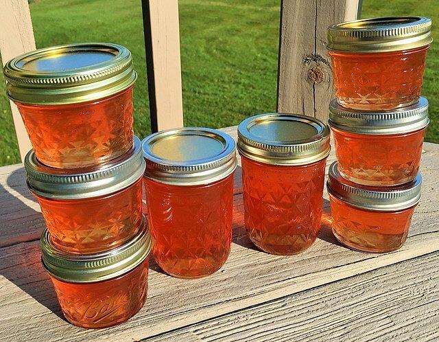 Jars of crab apple jam