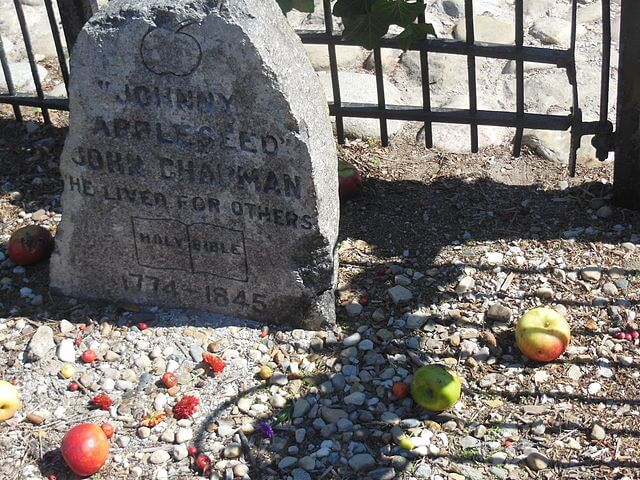 Johnny Appleseed Grave with apples placed nearby